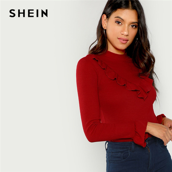SHEIN Burgundy Elegant Office Lady Ribbed Knit Ruffle Trim Long Sleeve Solid Pullovers Tee Autumn Workwear Women T-shirt And Top