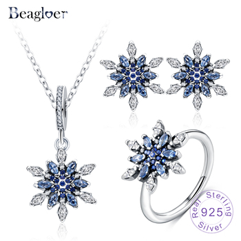 Beagloer 925 Sterling Silver Crystalized Snowflake Pendant Stud Earrings Ring For Women Wedding Jewelry Set PSST0013-B