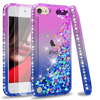 Bling Elmas Glitter Vaka Için Apple iPod Touch 6 Coque Için Apple iPod Touch 5 Sıvı Quicksand Yüzer Sparkle Akan kapak