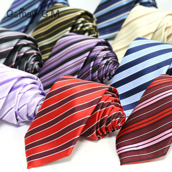 New polyester Microfiber woven Men's Neckties fashion Classic Striped ties for man 7.0 width Neck Tie Wholesale